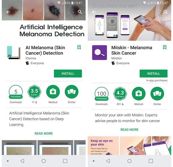 Top two skin cancer digital apps