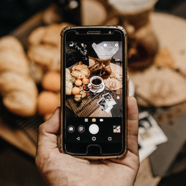 Photo of coffee on mobile phone